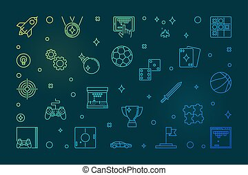 Games vector concept colorful outline illustration or banner
