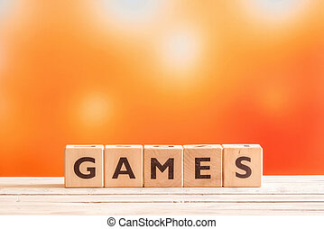 Games word on wooden cubes