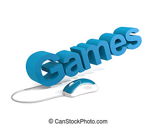Games word with blue mouse