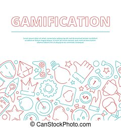 Gamification background. Business rules for workers game achievement work motivation vector concept picture