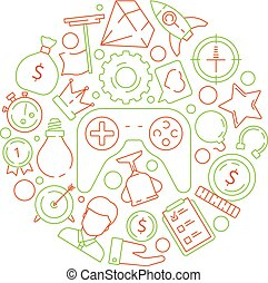 Gamification background. Gamification business concept achievement rules for work competitive challenge vector symbols in circle shape