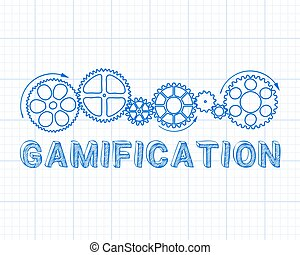 Gamification Graph Paper - Gamification text with gear...