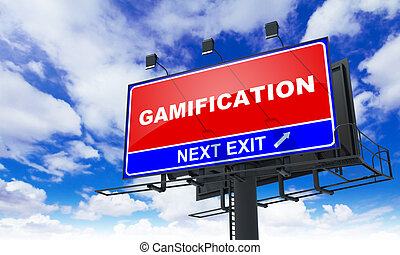 gamification, inscriptie, op, rood, billboard.