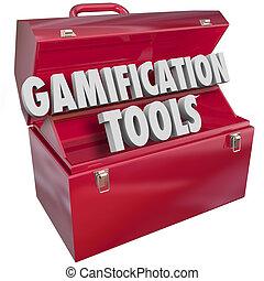 gamification, wörter, werkzeugkasten, werkzeuge, ressourcen, 3d