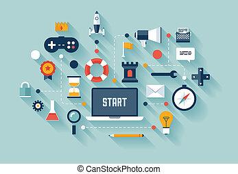 gamification, w, handlowe pojęcie, ilustracja