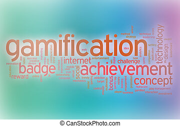 Gamification word cloud with abstract background