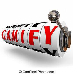 gamify, 単語, スロットマシン, 車輪, ギャンブル, 教育, マーケティング
