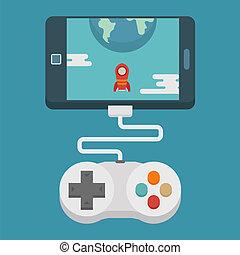 gaming, begriff, wohnung, beweglich, design