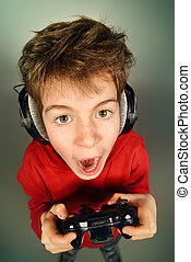 gaming boy - Funny boy gamer with a controller and...