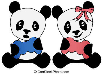 Gaming Buddies with Console Game Controllers Boy Girl Pandas Illustration with Clipping Path