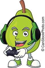 Gaming cartoon guava mascot on white background