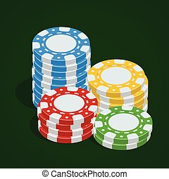 Gaming chips. Casino tokens. Vector Poker chips. 3d flat isometric vector illustration.