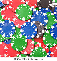 Chaos abstract color photo closeup - Gaming chips. Chaos...