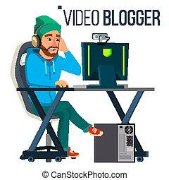 gaming, conceito, fluxo, banner., blogger, streaming., apartamento, estratégia, vetorial, vídeo, ilustração, vector., game., blogging., homem