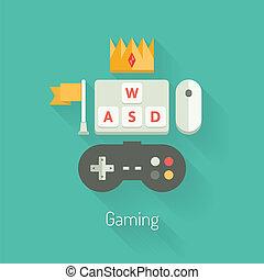 gaming, conceito, ilustração, apartamento
