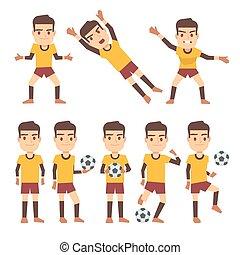 gaming, diferente, jogo, footballer, apartamento, jogador futebol, vetorial, caráteres, poses, goleiro