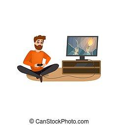 gaming, jogo, computador, viciado, addiction., homem