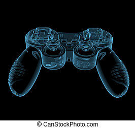 Gaming joystick (3D x-ray blue transparent isolated on...