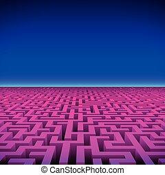 gaming, labyrinth, neon, hüfthose, retro, landschaftsbild