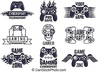 Gaming logo set. Video games and cyber sport labels