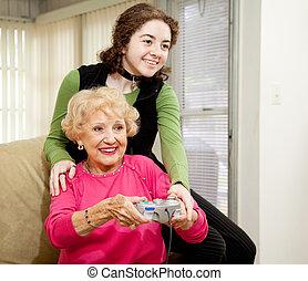 gaming, mit, grossmutter