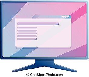 Gaming monitor icon, cartoon style