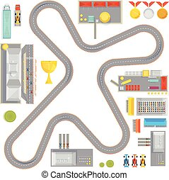 Gaming Race Track Composition - Composition with curvy...