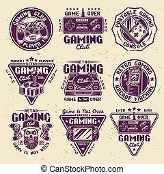 gaming, satz, retro, gefärbt, vektor, embleme