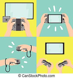 Gaming system. Four different types of use.