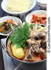 gamjatang, korean cuisine - gamjatang, pork bone and potato...