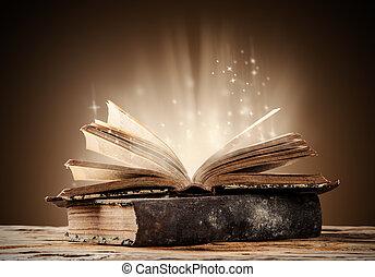 gamla böcker, på, trä tabell