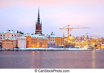 gamla stan, 老 鎮, 斯德哥爾摩, 城市, 在, 黃昏, 瑞典