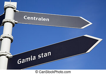 Gamla Stan - City Centre and Central Station Direction Sign; Stockholm