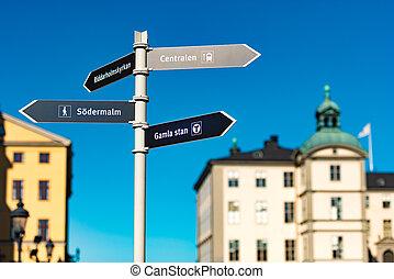 Gamla stan sign in Stockholm, Sweden