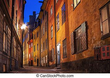 Gamla stan, Stockholm. - Night image from Gamla stan area in...