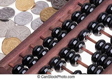 gamle, af træ, kinesisk, abacus, og, kinesisk, mønter