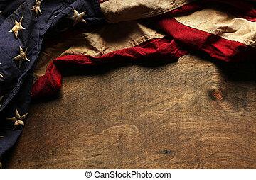 gamle, amerikaner flag, baggrund, by, mindesmærke dag,...