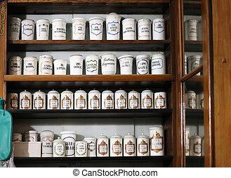 gamle, apotek, hylde