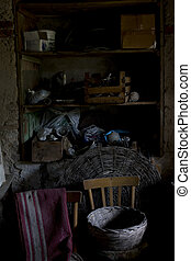 gamle, attic, hos, loft, hos, træagtig bjælke