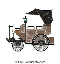 gamle, automobilen, eller, vinhøst, retro, samler, automobil, vektor, lejlighed, ikon