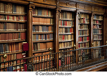 gamle bøger, ind, bibliotek