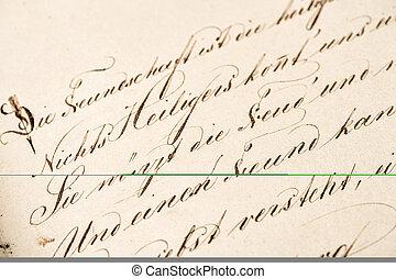 gamle, calligraphic, handwriting., grunge, vinhøst, avis, tekstur