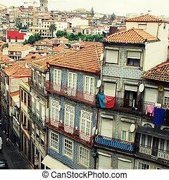 gamle, colourful, bygninger, porto