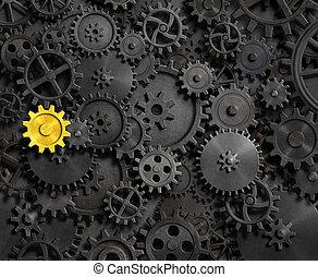 gamle, det gears, og, cogs, hos, guld, æn, 3, illustration