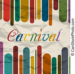 gamle, farverig, karneval, festival, tekst, card