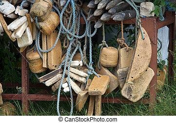 gamle, fiske net, closeup