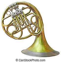 gamle, fransk horn