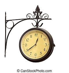 gamle, grunge, antik, mur ur