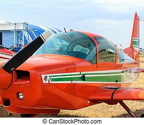 gamle, historiske, flyvemaskine, på den slibe
