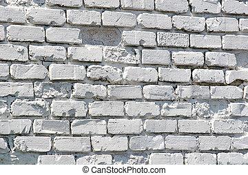 gamle, hvid, mal, mursten